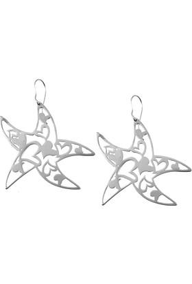 Denz Takı Kalpli Deniz Yıldızı Model Çelik Bayan Küpe