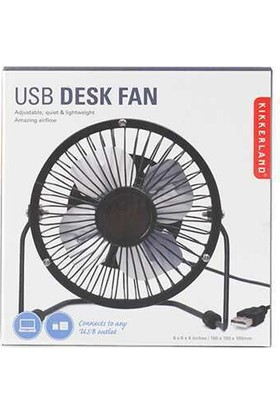 Kikkerland Usb Metal Desk Fan Black - Usb Masaüstü Metal Fan - Siyah