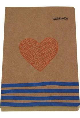 My Note Kraft Formalı Kalp Desenli 13X21Cm 144 Yaprak Çizgisiz Defter Myn118-D