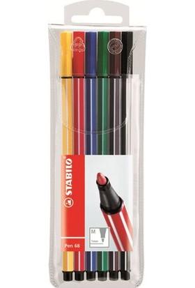 Stabilo Pen 68 - 6 Renk Şeffaf Paket 6806/Pl
