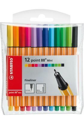 Stabilo Point 88 688/12-1 Mini Askili 12 Renk Keçeli Kalem