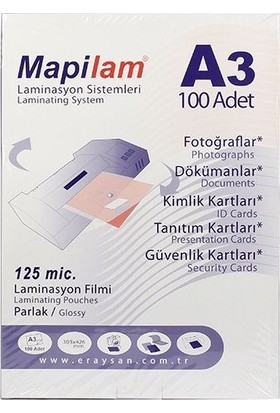 Mapilam Mapilam 125 Micron A3 303X426 Mm Parlak Laminasyon Filmi 100'Lü