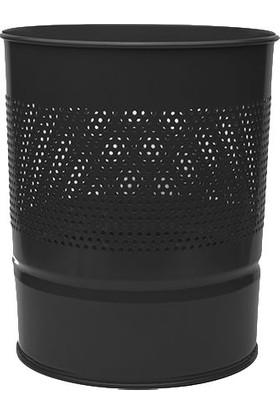 Mas Çöp Kovası Yarım Delikli Metal 10 L (852) Renk - Siyah