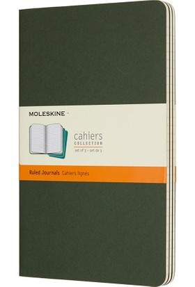 Moleskine Cahier 3'lü L Boy Karton Kapak Çizgili Defter Yeşil