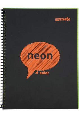 Mynote Neon 4 Color A4 80 Yaprak Kareli Defter Myn1080K
