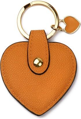Leather & Paper Turuncu Deri Kalp Anahtarlık