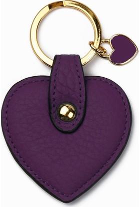 Leather & Paper Mor Deri Kalp Anahtarlık