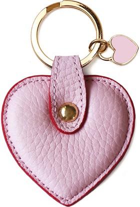 Leather & Paper Pembe Deri Kalp Anahtarlık