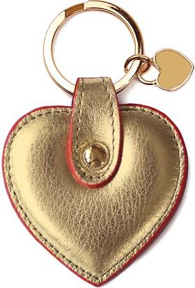 Leather & Paper Altın Deri Kalp Anahtarlık
