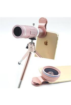 Markacase 18X Teleskop Zoom 0.45X Wide Angel Macro Profesyonel Lens Seti