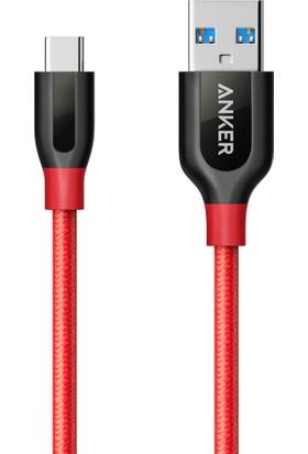 Anker PowerLine+ USB-C to USB 3.0 Type-C Örgülü Şarj/Data Kablosu 0.9 Metre - Kırmızı - Taşıma Çantalı