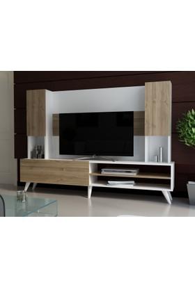 EvModüler Noble Tv Ünitesi 00252-01 Beyaz Ceviz
