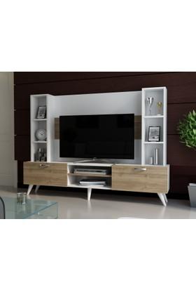 EvModüler Muhteşem Tv Ünitesi 00250-01 Beyaz Ceviz