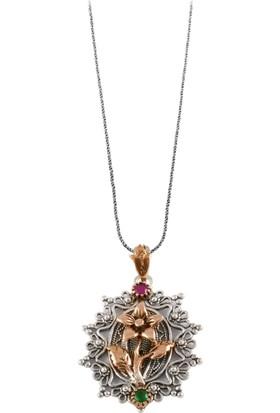 Akyüz Gümüş Çiçek İşlemeli Telkari Gümüş Kolye Klt137