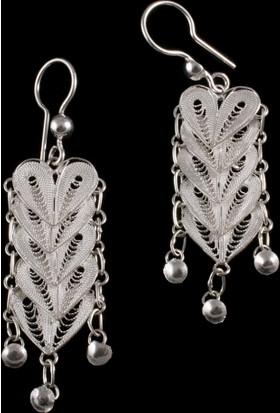 Akyüz Gümüş Kalpli Telkari Gümüş Küpe Kpt066