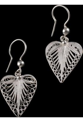 Akyüz Gümüş Kalp İşlemeli Telkari Gümüş Küpe Kpt069