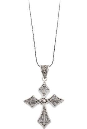 Akyüz Gümüş Haç Telkari Gümüş Kolye Klt167