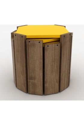 Rafevi Hansel Zigon Sehpa Ceviz-Sarı