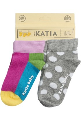 Katia 2'li Bebek Çorap Gri Melanj