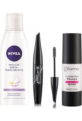 Flormar Primer Make Up Makyaj Bazı 30 Ml+Flormar Deep Black Spider Mascara+Nivea Micellar Temizleme Suyu 200 Ml