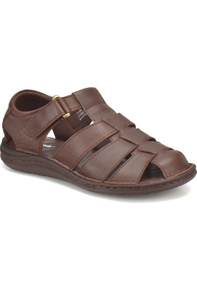 Polaris 71.156850.M Kahverengi Erkek Deri Sandalet