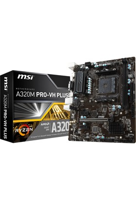 MSI A320M PRO-VH PLUS AM4 AMD Ryzen DDR4 Soket 3200+MHz USB 3.1 Anakart