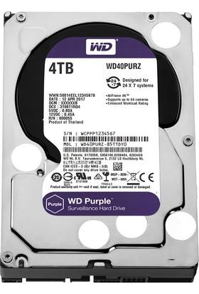 """WD Purple 4TB 3,5"""" SATA III 6Gbit/s 64MB 7/24 Güvenlik Kamerası Diski WD40PURZ"""