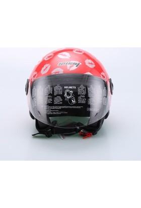 Spyder Motosiklet Kaskı Yarım Camlı 701 Bayan Kırmızı Öpücük Desenli Medium