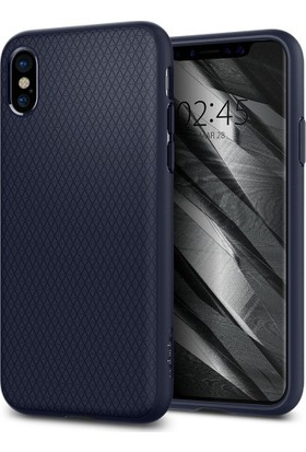 Spigen Apple iPhone X Kılıf Liquid Air Armor Midnight Blue - 057CS22124
