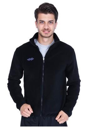 Sportive Team Puf Polar Erkek Fermuarlı Siyah Polar Sweatshirt