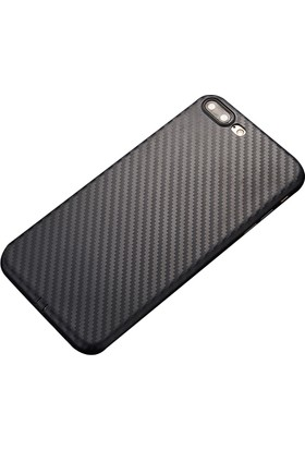 Ally Apple iPhone 7 Plus Carbon Fiber Dokulu Yumuşak Silikon Kılıf