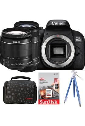 Canon EOS 800D + 18-55 + 55-250 Lens + Hafıza Kartı + Çanta + Tripod