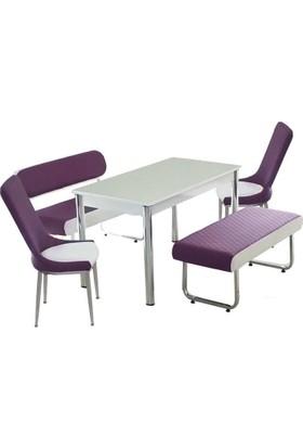 Kutuphome Masa Sandalye Takımı Bank Takım Mor