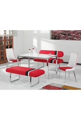 Kutuphome Masa Sandalye Takımı Bank Takım Kırmızı