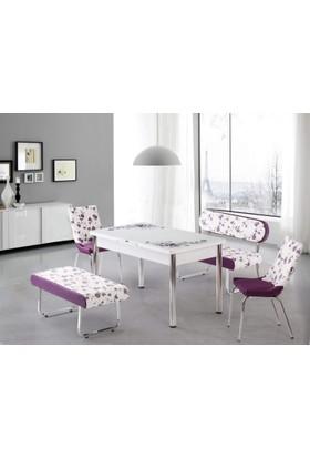 Kutuphome Masa Sandalye Takımı Bank Takım Açılır Masa Mor Çiçek