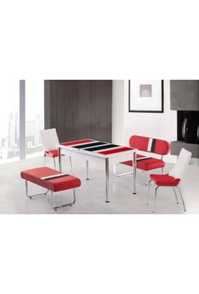 Kutuphome Masa Sandalye Takımı Bank Takım Açılır Masa Kırmızı Beyaz