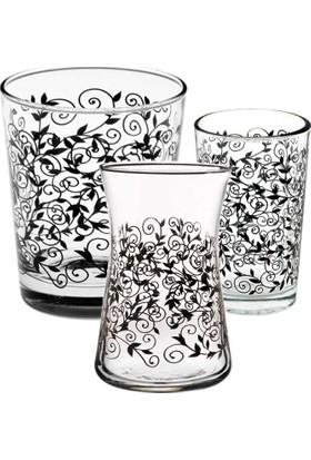 Joy Glass 18 Parça Siyah Şal Su Çay Kahveyanı Su Takımı P42875S & P52291D1 & P42361Sds