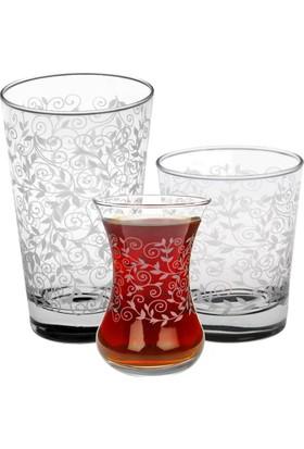 Joy Glass 18 Parça Şal Desen Su Meşrubat Çay Takımı P42875Sdb & P42877B & P42381Sd