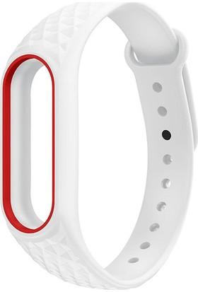 Xiaomi Mi Band 2 Akıllı Bileklik Kordonu Aura Beyaz - Kırmızı Çerçeveli