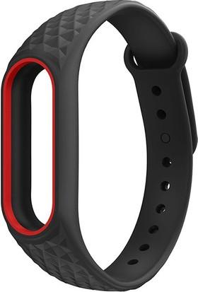 Xiaomi Mi Band 2 Akıllı Bileklik Kordonu Aura Siyah - Kırmızı Çerçeveli