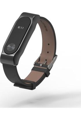 Xiaomi Mi Band 2 Akıllı Bileklik Deri Kordon Siyah