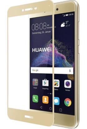 Case 4U Huawei P9 Lite 2017 3D Kavisli Temperli Cam Ekran Koruyucu Film Altın