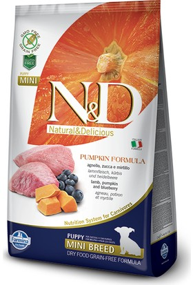 N&D Pumpkin Tahılsız Bal Kabaklı, Kuzu Etli Ve Yaban Mersinli Ufak Irk Yavru Köpek Maması 2.5Kg
