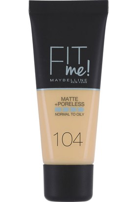 Maybelline New York Fit Me Matte & Poreless Foundation 30 Ml 104 Soft Ivory