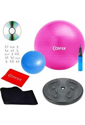 Cosfer Pilates Seti 8 Li Plates Set Pilates Topu Plates Lastiği Bandı Twister Disk Termal Sauna Kemer