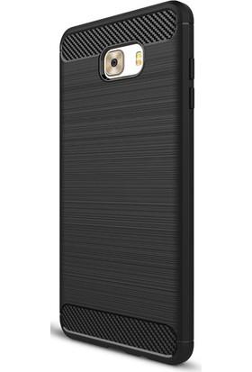 Microcase Samsung Galaxy C9 Pro Brushed Carbon Fiber Silikon Tpu Kılıf