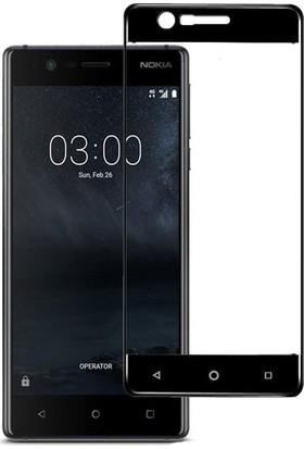 Microcase Nokia 3 Çerçeveli Tempered Glass Cam Koruma Siyah