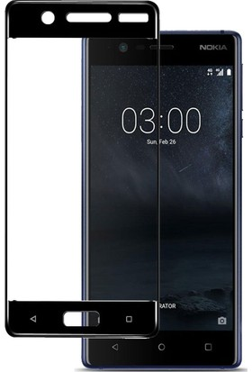 Microcase Nokia 5 Çerçeveli Tempered Glass Cam Koruma Siyah