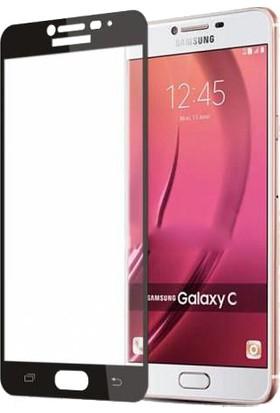Microcase Samsung Galaxy C7 Çerçeveli Tempered Glass Cam Koruma