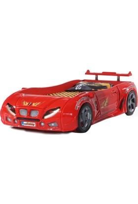 Otomobby Ledli Müzikli Arabalı Yatak, Arabalı Karyolu R1 Kırmızı